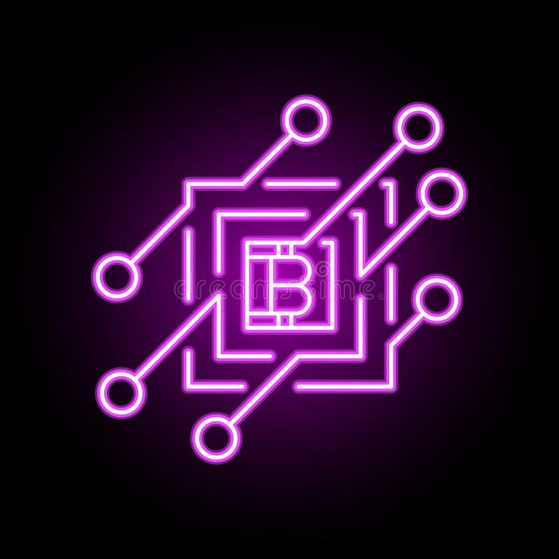 Elemento do ?cone ou do projeto do conceito do vetor de Blockchain no estilo de n?on ilustração royalty free