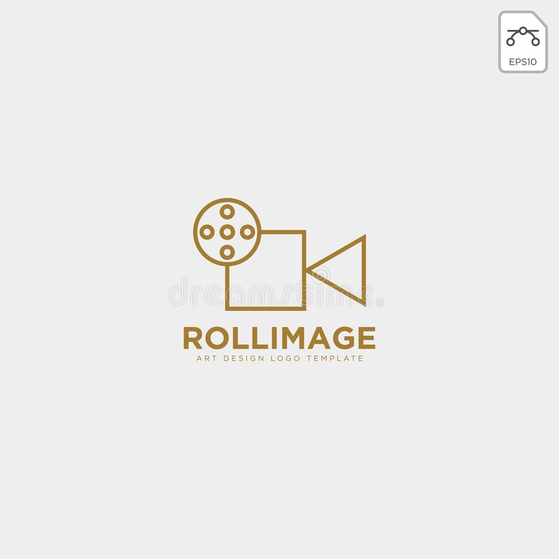 elemento do ícone do vetor do molde do logotipo do estúdio do fil do gravador de vídeo ilustração stock