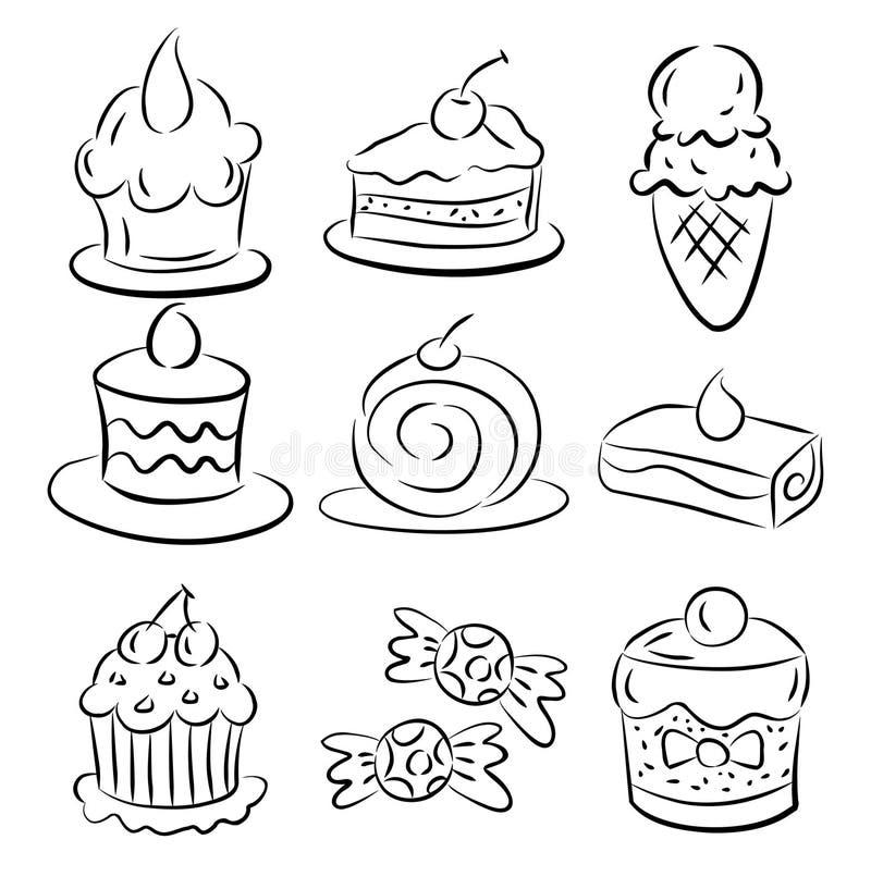 Elemento do bolo do esboço ilustração royalty free