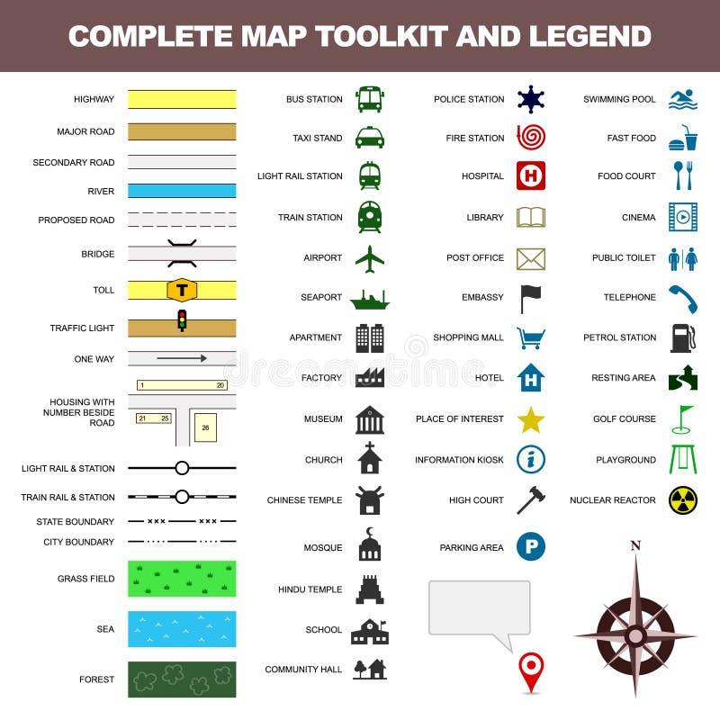 Elemento do conjunto de ferramentas do sinal do símbolo da legenda do ícone do mapa ilustração do vetor