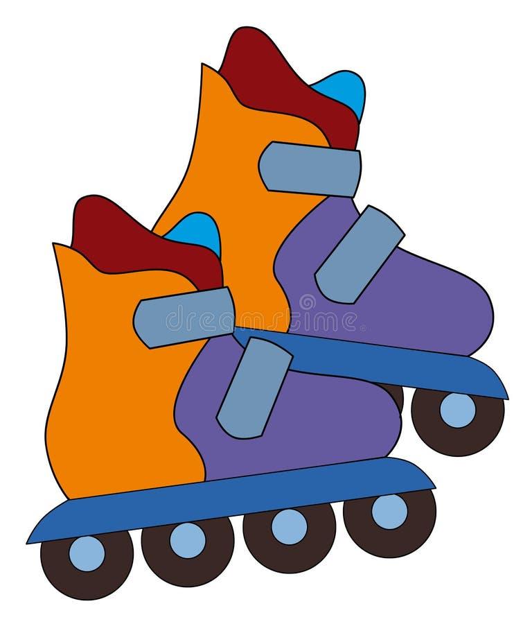 Elemento do esporte dos desenhos animados - patins - equipamento para a atividade de lazer ilustração do vetor