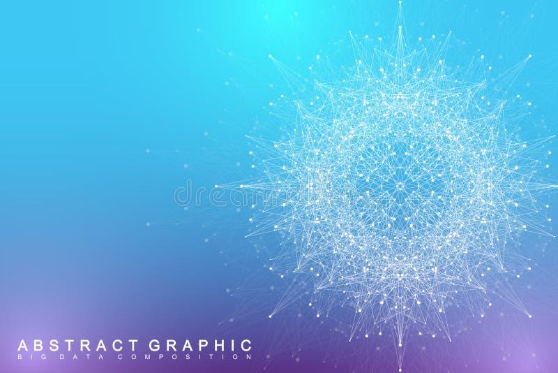 Elemento do Fractal com linhas e pontos dos compostos Complexo grande dos dados Uma comunicação abstrata gráfica do fundo mínimo ilustração royalty free