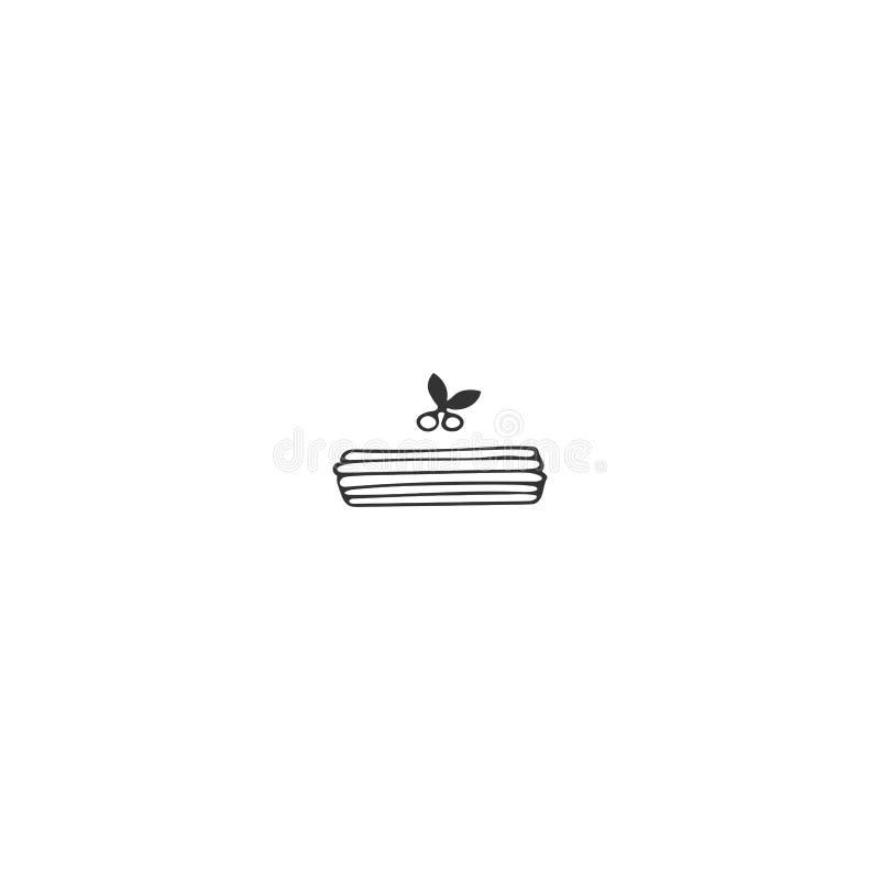 Elemento do logotipo da cozinha, panquecas Objeto tirado mão do vetor ilustração do vetor