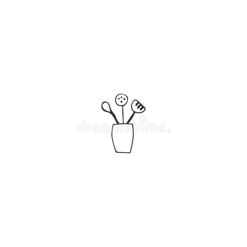 Elemento do logotipo da cozinha, um kitchenware Objeto tirado m?o do vetor ilustração royalty free