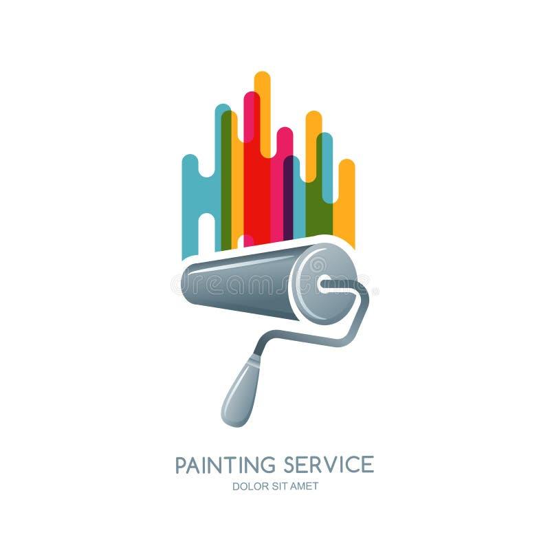 Elemento do logotipo, da etiqueta ou do emblema do projeto do vetor O rolo de pintura e as pinturas multicoloridos isolaram o íco ilustração stock