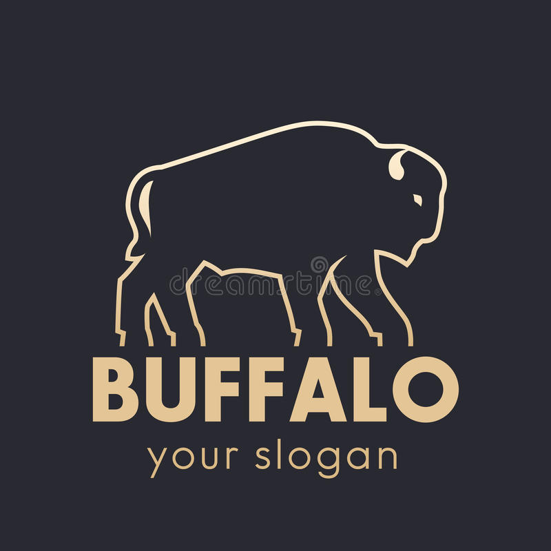 Elemento do logotipo do vetor do búfalo, esboço do ouro ilustração stock