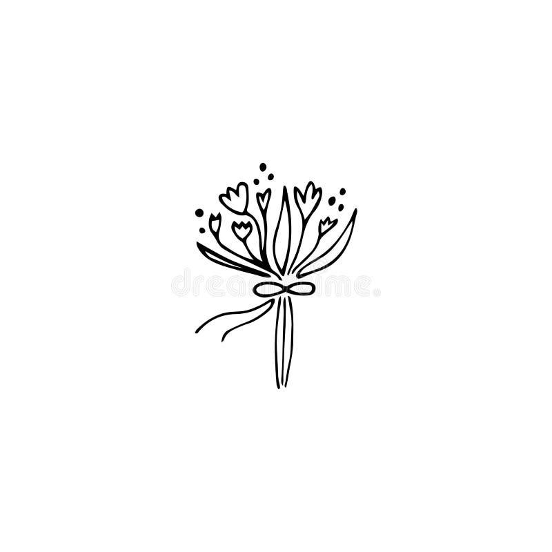 Elemento do logotipo do ramalhete do casamento ilustração stock