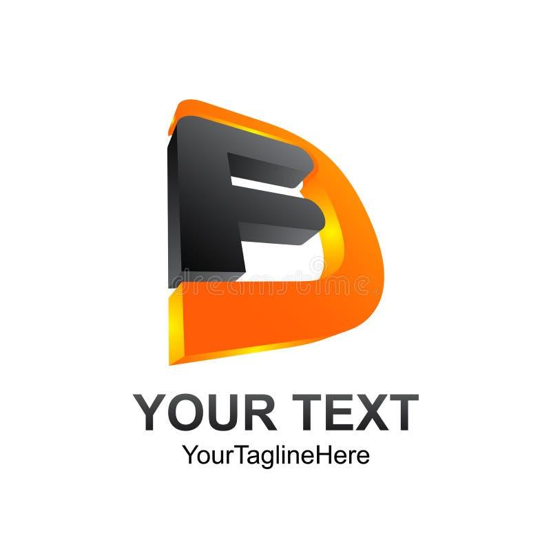 elemento do molde do projeto do logotipo do alfabeto da inicial do FD da letra 3D ilustração stock
