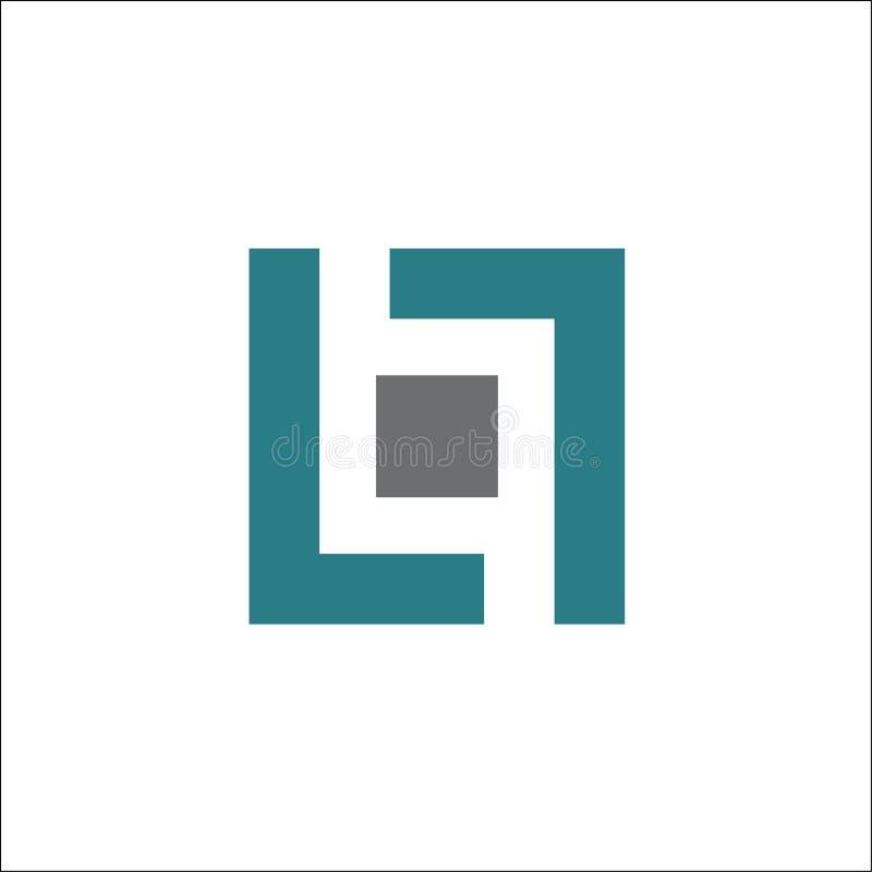 Elemento do molde do projeto do vetor do logotipo do quadrado da letra LL ilustração stock