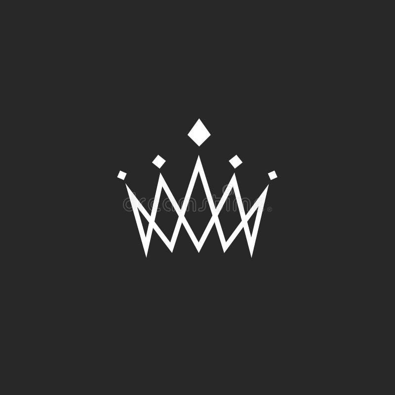 Elemento do projeto da coroa, logotipo do sumário do monograma, linha fina ícone real, emblema do hotel do molde ilustração do vetor