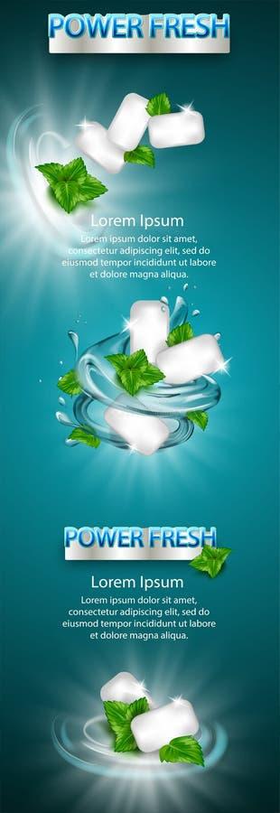 Elemento do projeto de produto, bandeira grande O anúncio da goma do sabor da hortelã com folha e a água espirram o elemento, na  ilustração royalty free