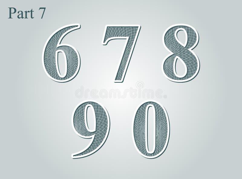 Elemento do projeto do dinheiro do certificado do diploma dos números do Guilloche ilustração stock