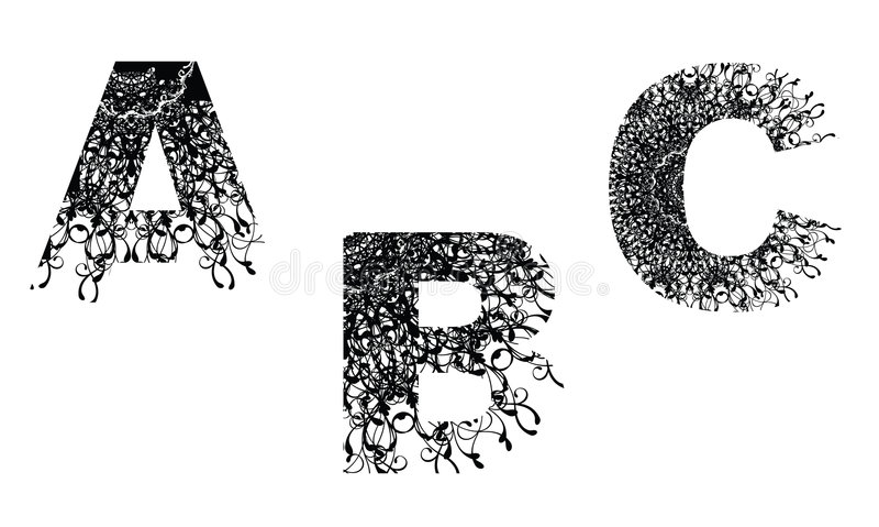 Elemento do projeto do número com ABC floral da textura fotos de stock