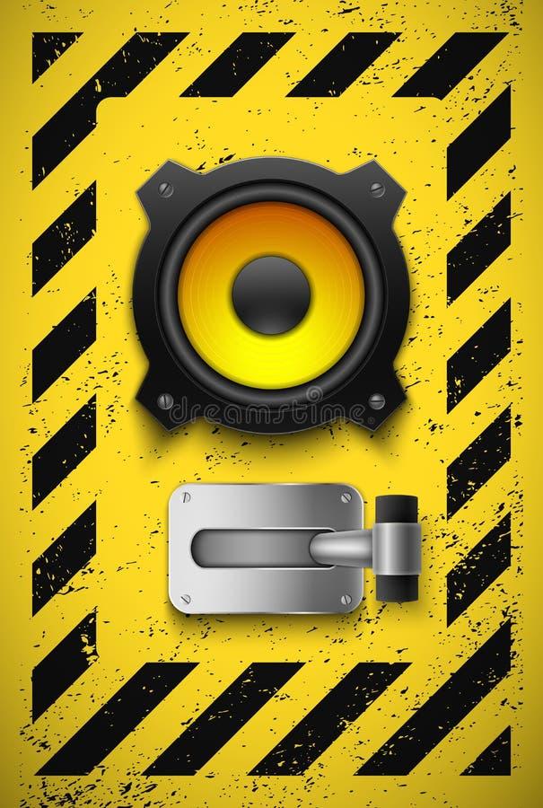 Elemento do projeto do partido com altofalante e interruptor. ilustração stock