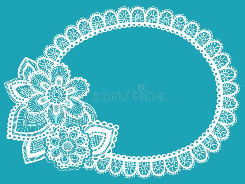 Elemento do projeto do vetor do frame do Doily do laço da flor ilustração do vetor