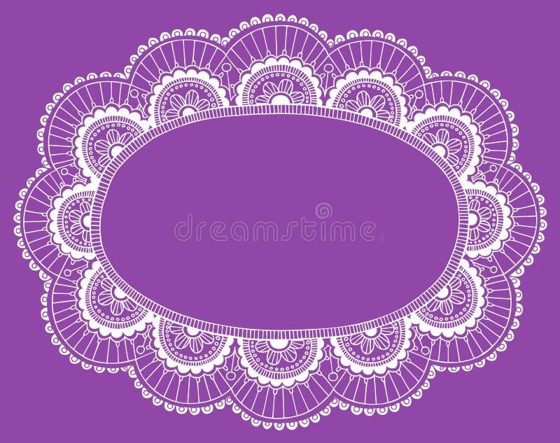 Elemento do projeto do vetor do quadro do Doily do laço do Henna ilustração do vetor