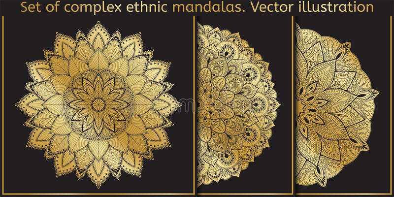 Elemento do projeto do vetor Molde para criar o logotipo, ícone, símbolo, emblema, quadro do monograma Grupo da mandala ilustração royalty free