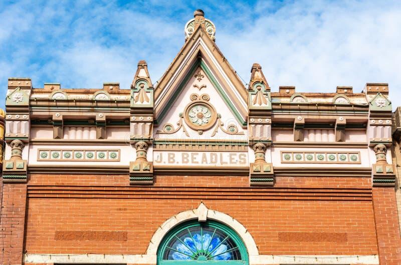 Elemento do projeto exterior da construção de Gaffney em Guthrie, APROVADO imagem de stock royalty free
