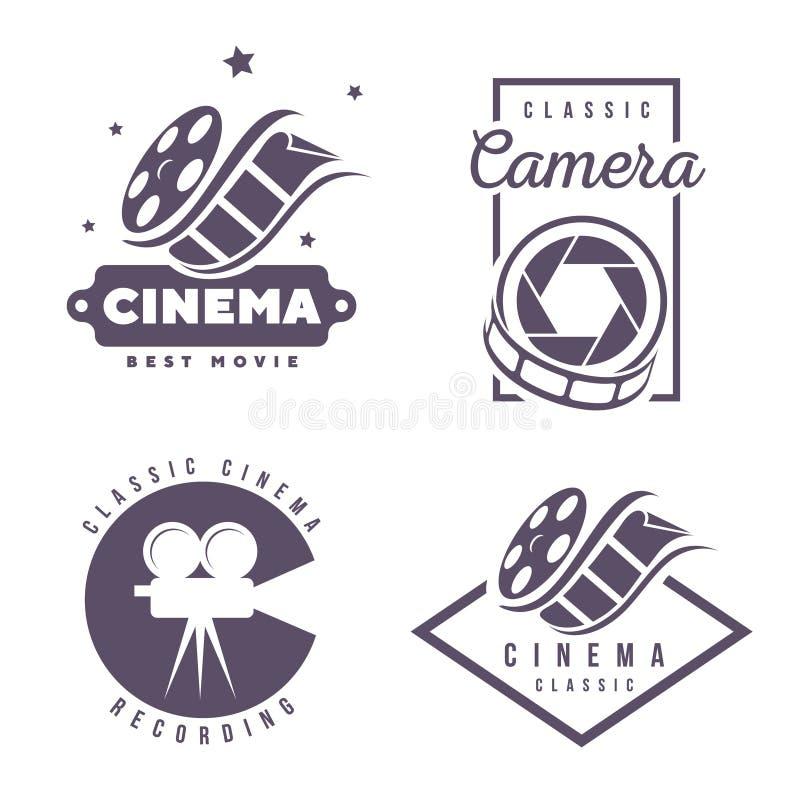 Elemento do projeto do logotipo do emblema das etiquetas do cinema isolado no fundo branco ilustração stock