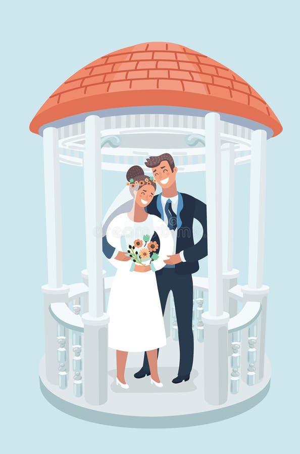 Elemento do projeto para o cartão do casamento Estilo do vintage, mão tirada ilustração do vetor