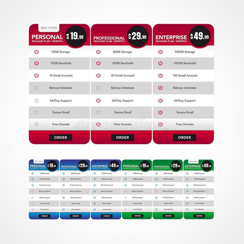 Elemento do Web - tabela da fixação do preço fotografia de stock