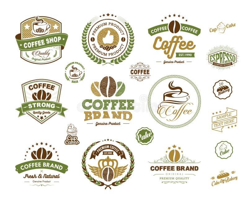 Elemento dos crachás e das etiquetas dos logotipos do café ilustração stock