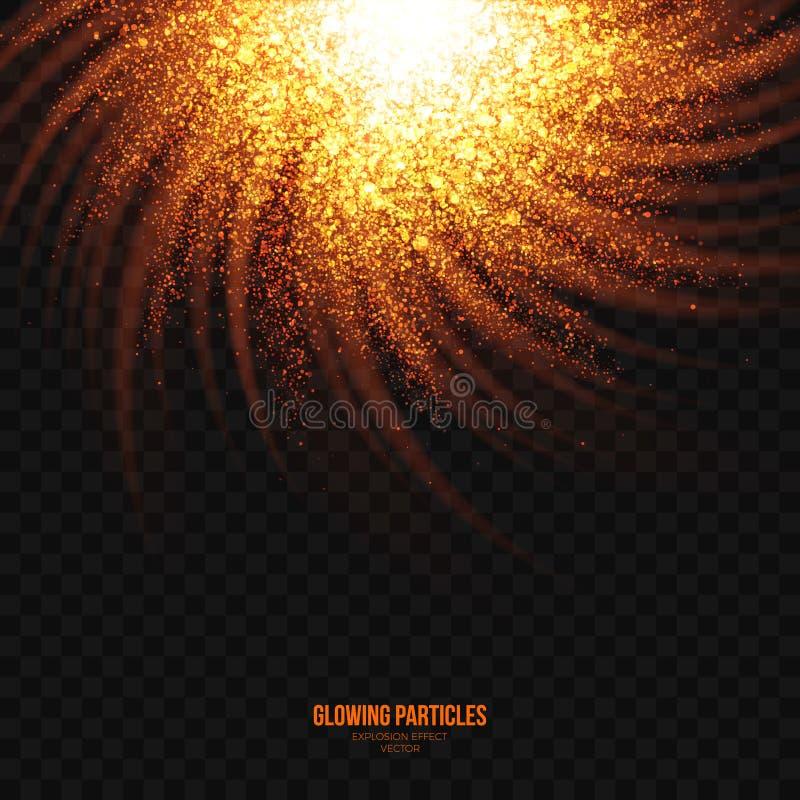 Elemento dourado de incandescência do projeto do efeito da explosão das partículas ilustração royalty free