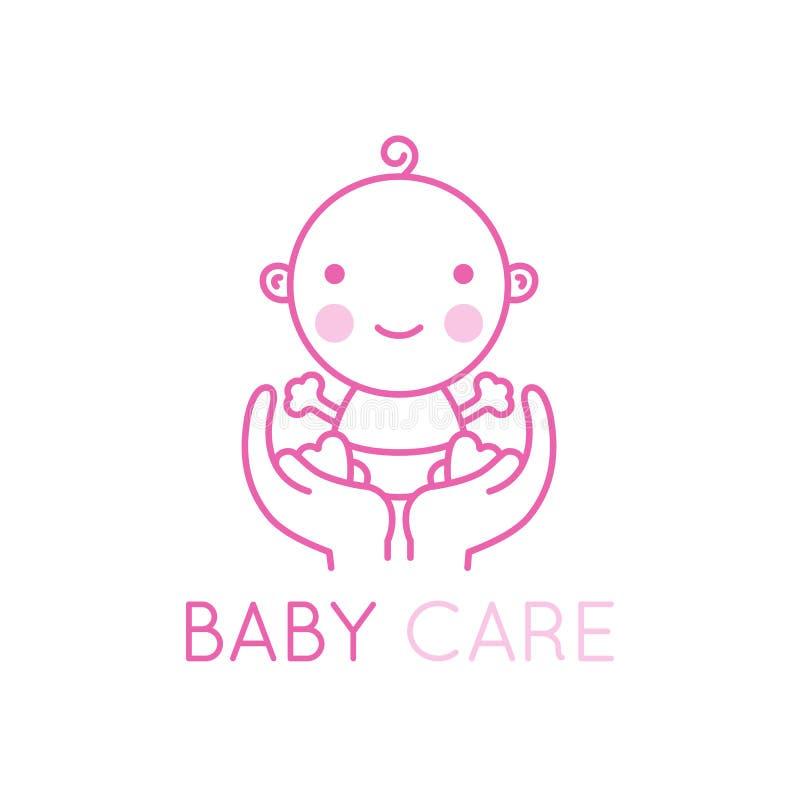 Elemento e emblema do projeto do logotipo de AVector - cuidado e amor do bebê ilustração do vetor