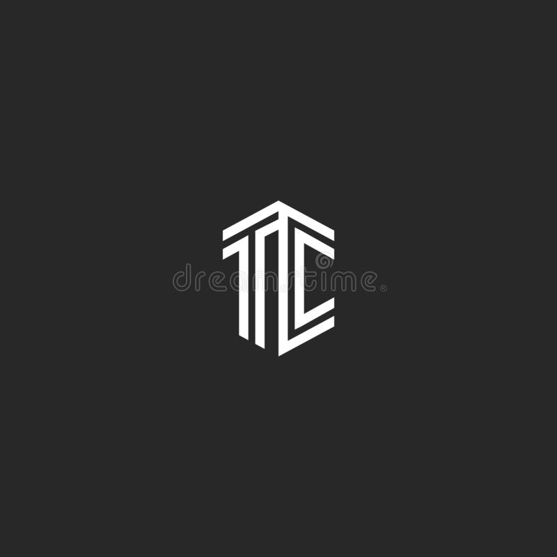 Elemento elegante linear mínimo elegante isométrico del diseño del monograma del logotipo del TC de la letra, dos letras de inici stock de ilustración