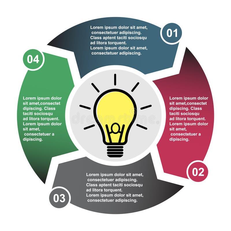 elemento em quatro cores com etiquetas, diagrama infographic do vetor de 4 etapas Conceito do negócio de 4 etapas ou opções com a ilustração royalty free