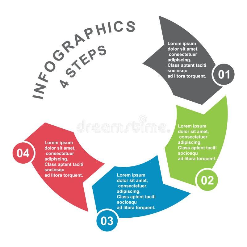 elemento en cuatro colores con las etiquetas, diagrama infographic del vector de 4 pasos Concepto del negocio de 4 pasos u opcion stock de ilustración