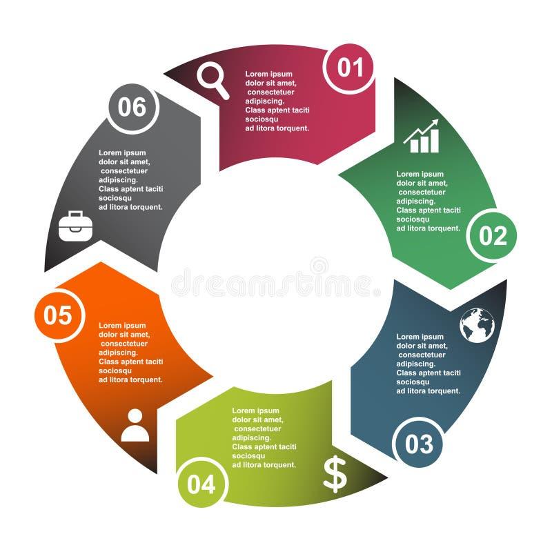 elemento en seis colores con las etiquetas, diagrama infographic del vector de 6 pasos Concepto del negocio de 6 pasos u opciones stock de ilustración
