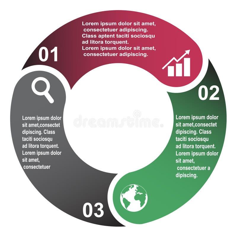 elemento en tres colores con las etiquetas, diagrama infographic del vector de 3 pasos Concepto del negocio de 3 pasos u opciones libre illustration