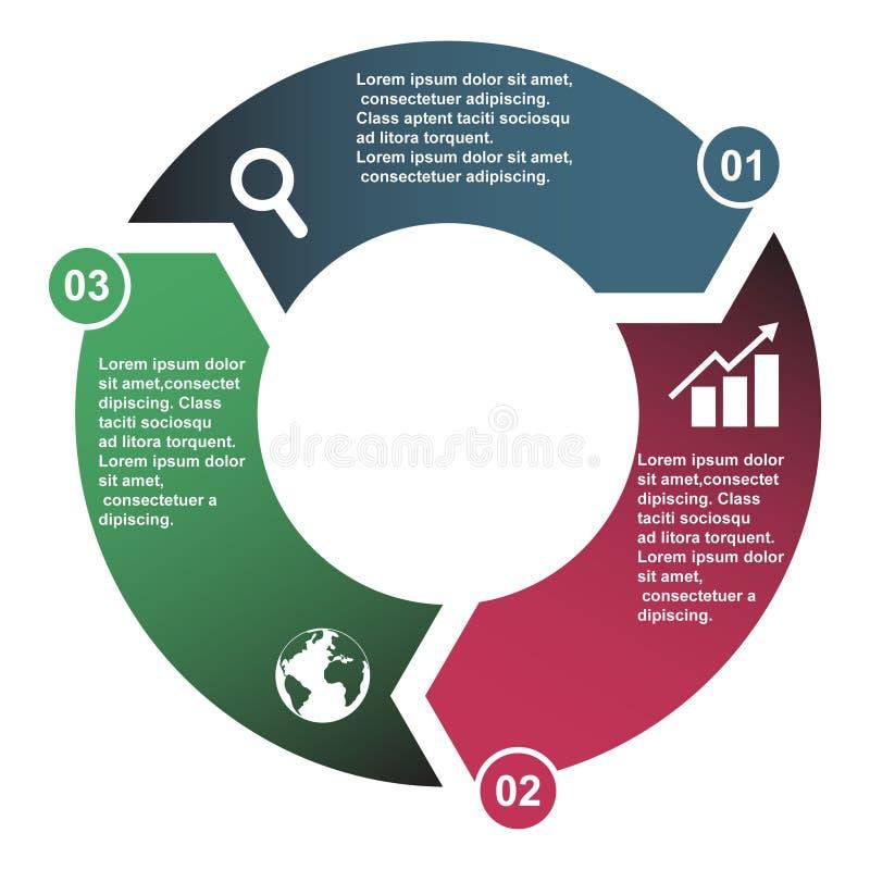 elemento en tres colores con las etiquetas, diagrama infographic del vector de 3 pasos El concepto del negocio de 3 pasos o las o libre illustration