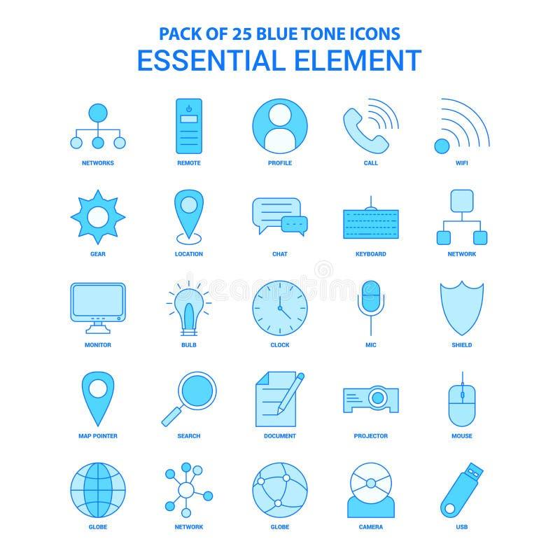 Elemento esencial Tone Icon Pack azul - 25 sistemas del icono libre illustration