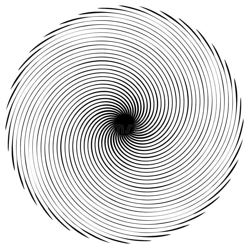 Elemento espiral abstrato Concêntrico, radial, irradiando linhas Ab ilustração do vetor
