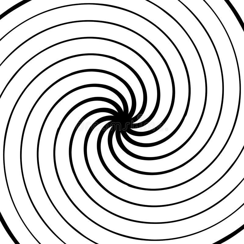 Elemento espiral abstrato Concêntrico, radial, irradiando linhas Ab ilustração stock