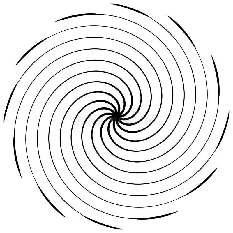 Elemento espiral abstrato Concêntrico, radial, irradiando linhas Ab ilustração royalty free