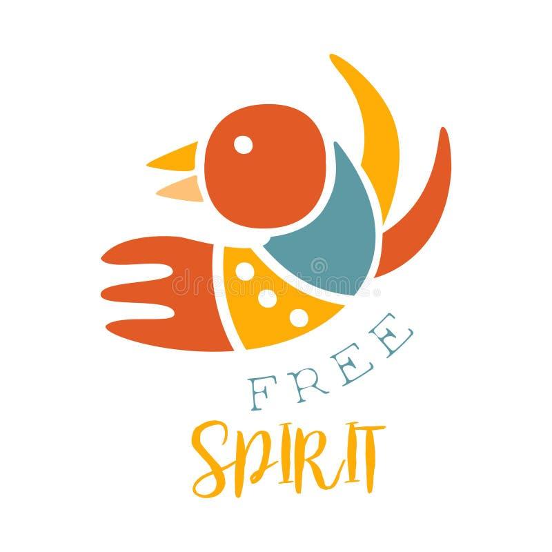Elemento etnico di stile di Boho di slogan dello spirito libero, modello di progettazione di modo dei pantaloni a vita bassa nel  royalty illustrazione gratis