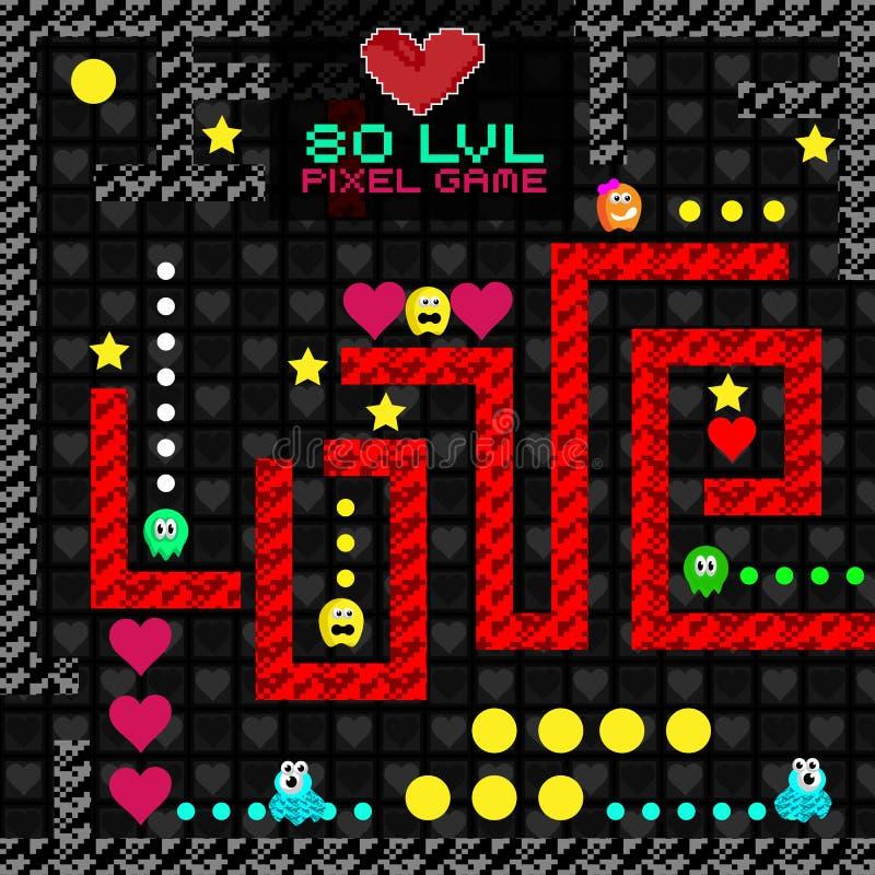 Elemento feliz do cartão do coração do pixel do dia de Valentim ilustração stock