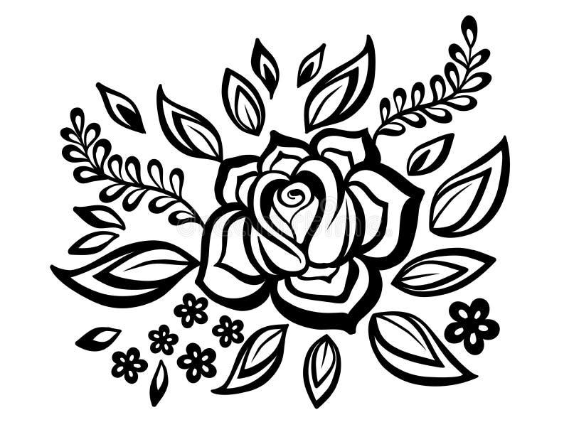 As flores e as folhas preto e branco projetam o elemento com bordado de imitação da guipura. ilustração stock