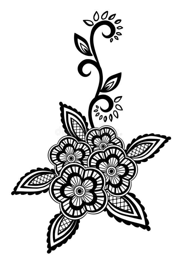 Elemento floral bonito. As flores e as folhas preto e branco projetam o elemento com bordado de imitação da guipura. ilustração stock