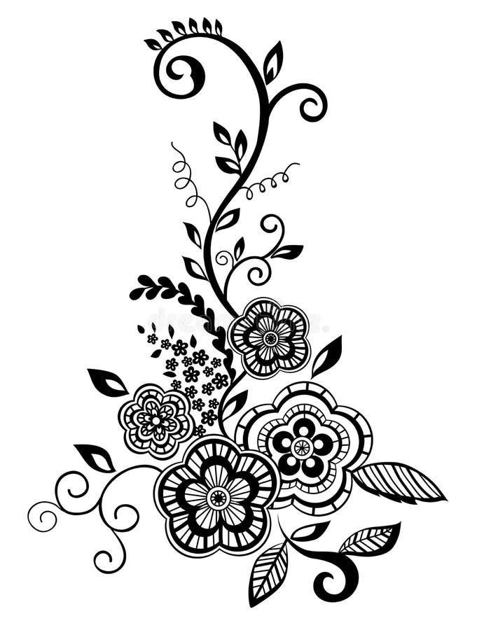 Elemento floral bonito. Flores preto e branco   ilustração royalty free