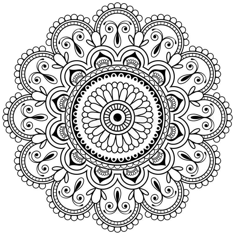 Elemento floral da hena de Mehndi para a mandala do tatoo no estilo indiano ilustração do vetor