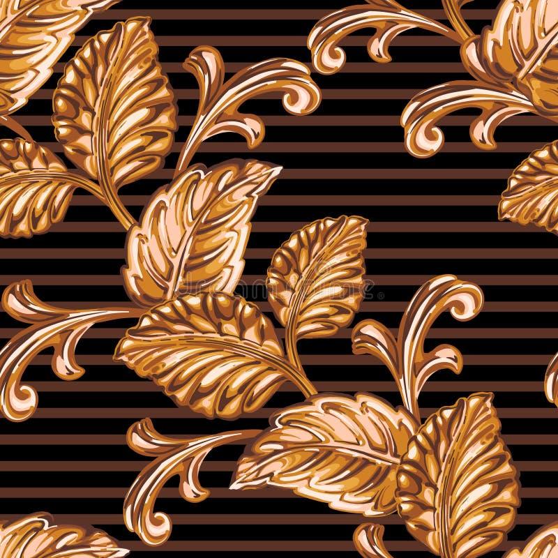 Elemento floral de bronze decorativo ilustração do vetor