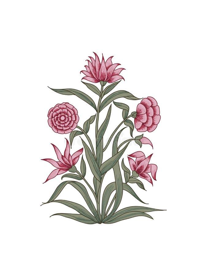 Elemento floral do blockprint ilustração stock