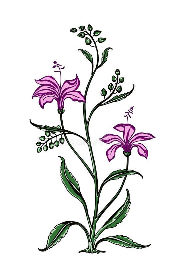 Elemento floral do blockprint ilustração do vetor