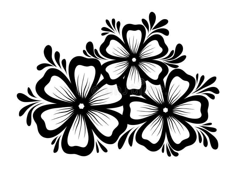 Elemento floral hermoso. Elemento blanco y negro del diseño de las flores y de las hojas. Elemento del diseño floral en estilo ret stock de ilustración