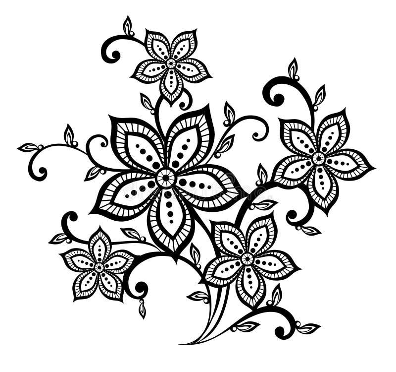 Elemento floral preto e branco bonito do projeto do teste padrão ilustração do vetor