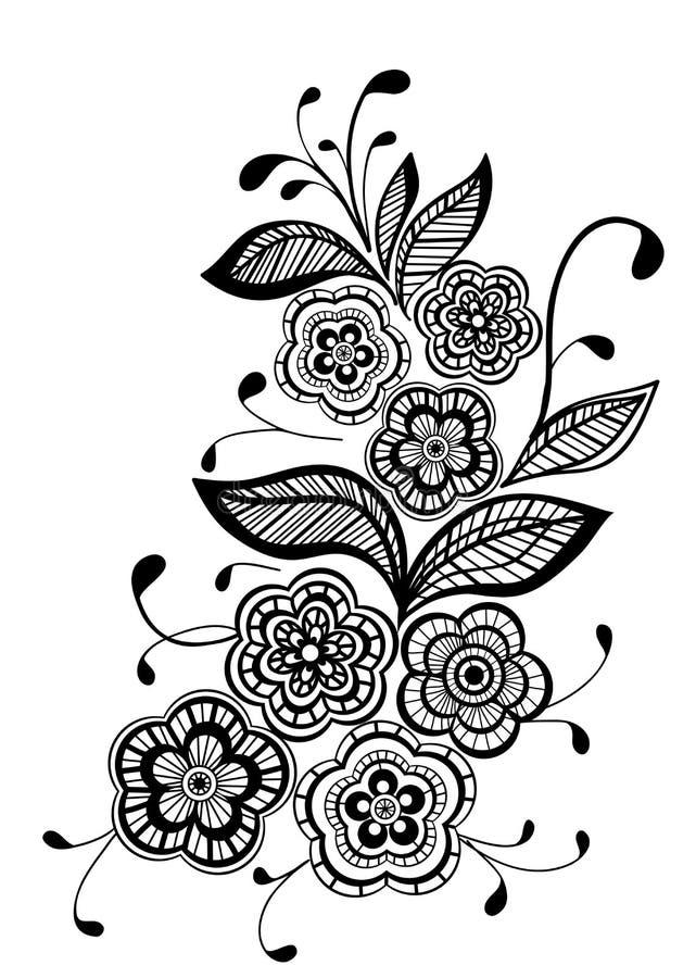 Elemento floral preto e branco do projeto do teste padrão ilustração stock